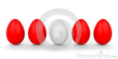 3d Rendering White Egg And Red Eggs On White Background Stock ...