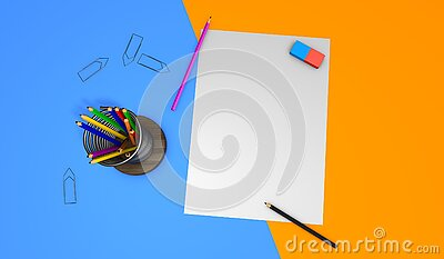 3D rendering desk with drawing sheets Stock Photo