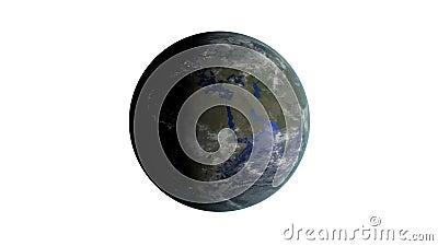 3D a rendu l'animation de bouclage de la terre tournante sur le fond noir et blanc banque de vidéos