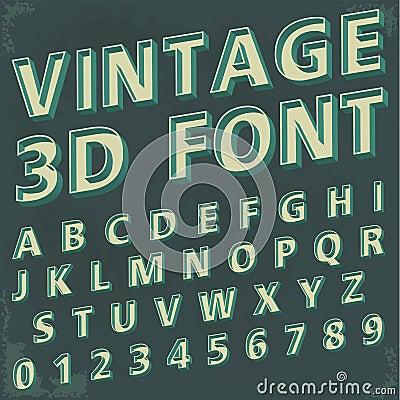 3d Retro type font, vintage typography