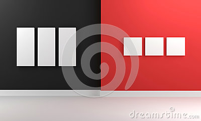 3D room in red and black with empty canvas