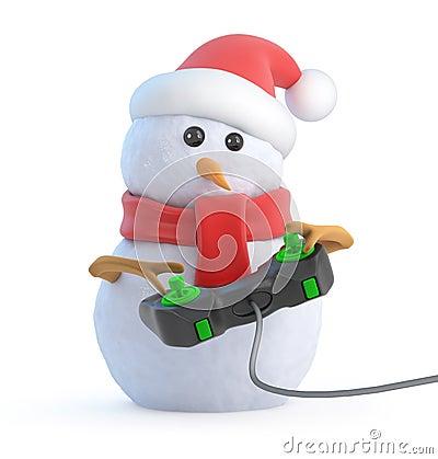 3d Santa snowman plays a videogame