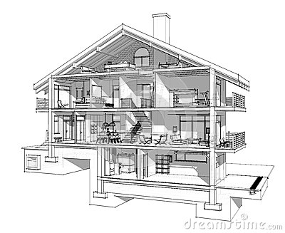 Stock Illustration D Section Country House If Cut Half Will See How Zoned Rooms Floors Garage Heating Basement Image66260352 on living room themes