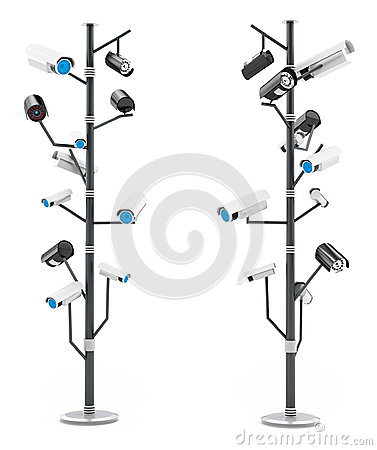 3d security cameras surveillance concept