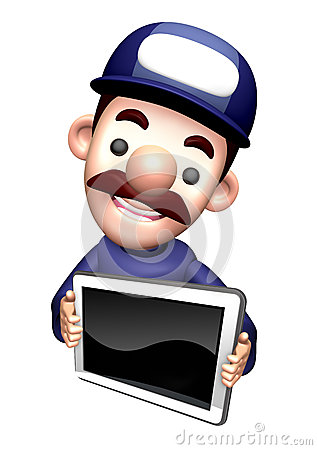 The 3D Service man Mascot shows the monitor