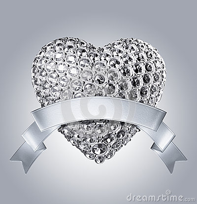 3d silver diamond heart and ribbon tag royalty free stock