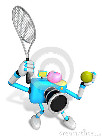 3D Sky Blue Camera character is a powerful tennis game play exer