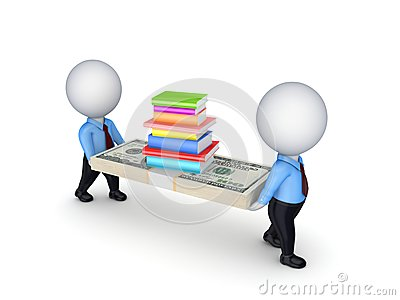 3d small people with dollars and stack pf books.