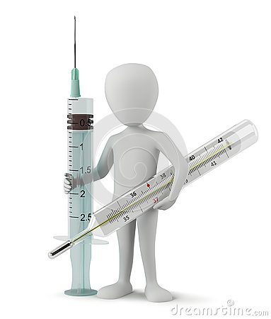 3d small people - Medical syringe and thermometer.