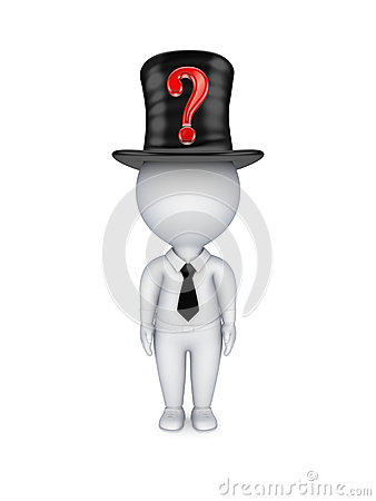 3d small person with red query mark on top-hat.