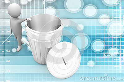 3d small person standing next to a trash can Illustration