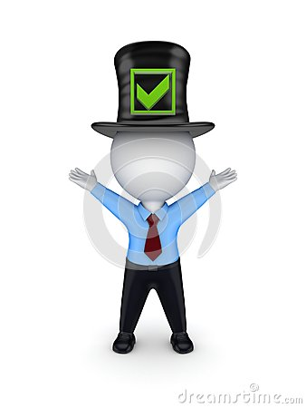 3d small person in top-hat with green tick mark.