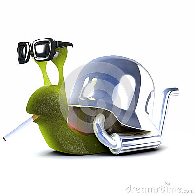 3d Snail biker smoking