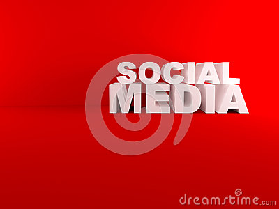 3D social media text isolated red room