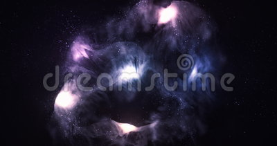 3D Space Flight Around Celestial Nebula in Space Full 4K stock footage