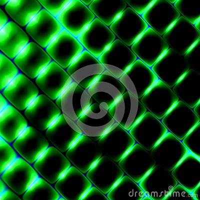 3d Square Shapes Under Green Light. Beautiful Science Background. Abstract Pattern Illustration. Modern Texture Design Element. Stock Photo