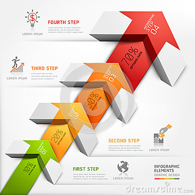 3d step up arrow staircase diagram business.