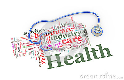 3d stethoscope over healthcare word tags illustration