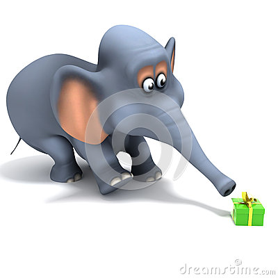 3d Surprised elephant