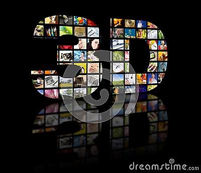 3D television concept image. TV movie panels
