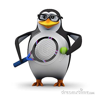 3d Tennis pro penguin