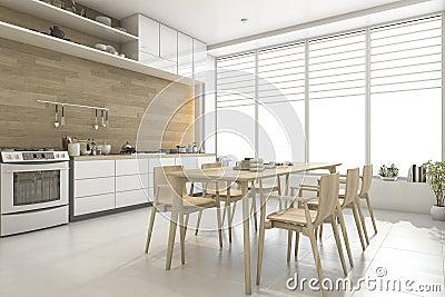 Keuken Interieur Scandinavisch : D teruggevende witte skandinavische stijl houten keuken en