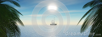 3D tropical landscape with yacht sailing in the ocean Stock Photo