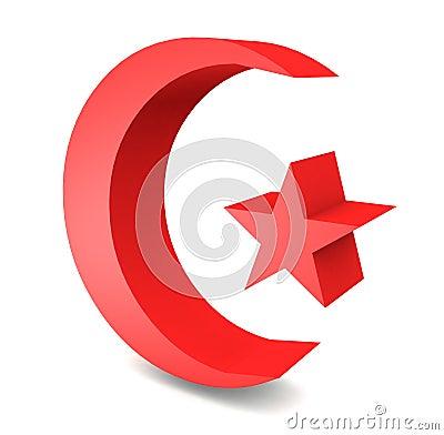 3D turkish flag moon star