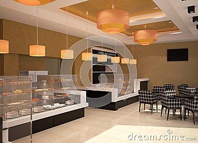 3d visualization of a bakery interior design stock illustration