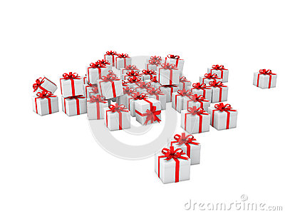 3d white gift boxes with red ribbons Stock Photo