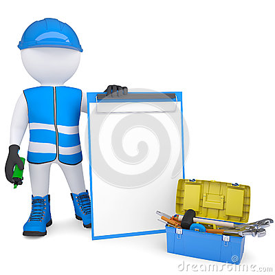 3d white man in overalls with checklists and tools
