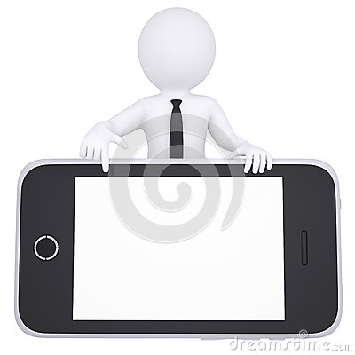 3d white man points a finger to smartphone