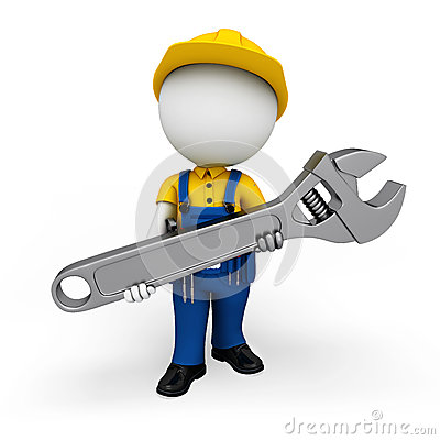 3d white people as plumber holding big tool