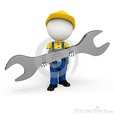 3d white people as plumber holding wrench
