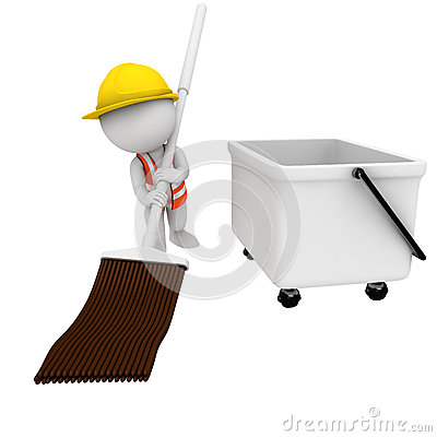 3d white people as road worker with cleaning brush