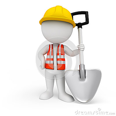 3d white people as road worker standing with spade