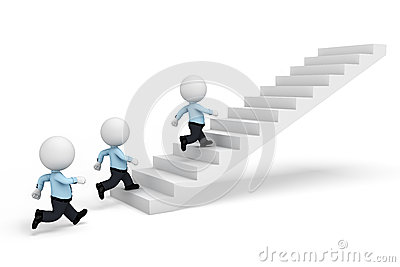 3d white people as serviceman walking on stairs