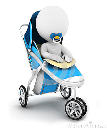 3d white people baby in a stroller