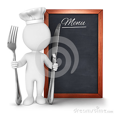 3d white people chef with menu