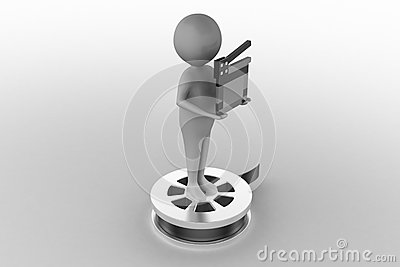 3d white people holding a movie clapper on a film reel