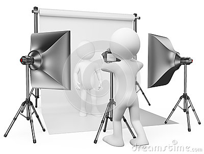 3D white people. Photographer studio