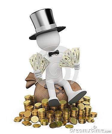 3D white people. Rich man