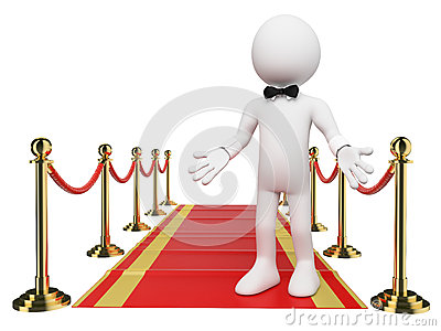 3d white people welcome to the red carpet royalty free