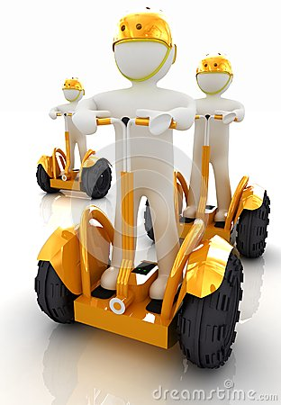 3d white persons riding on a personal and ecological transports