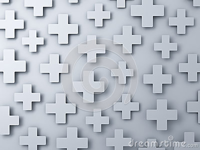 3d white plus signs abstract background