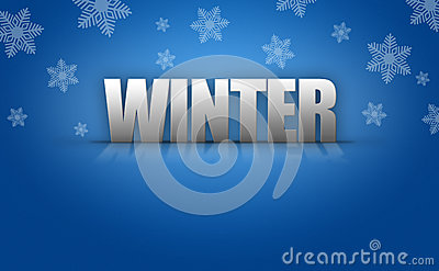 3D Winter Text Logo on Snowflake Background