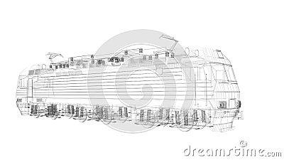 3d  wire frame locomotive model