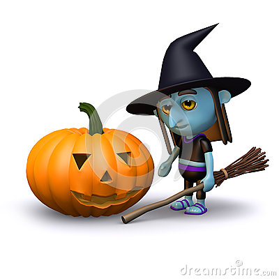 3d Witch and pumpkin