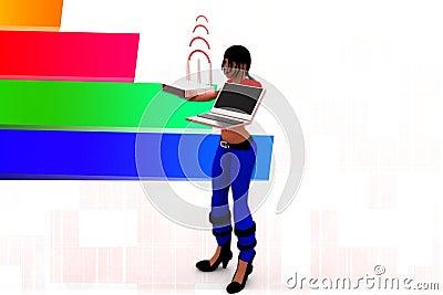 3d Women Laptop Wifi Transfer Illustration