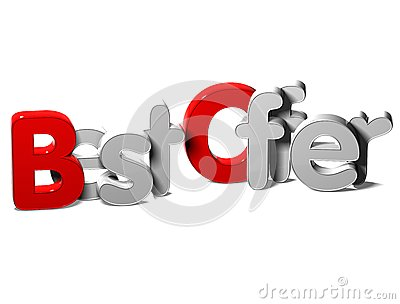 3D Word Best Offer on white background